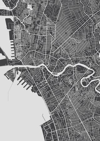 City map Manila, monochrome detailed plan, vector illustration