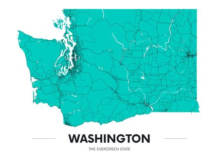 Detailed Washington state map, highly detailed territory and road plan, vector illustration