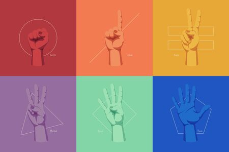 Gestures and signs with human hands, finger counting on the background of geometric shapes, color vector illustration Vettoriali