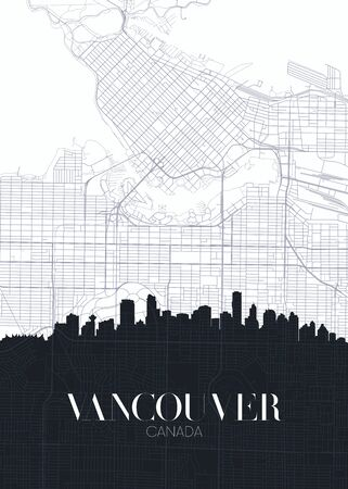 Skyline and city map of Vancouver, detailed urban plan vector print poster