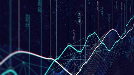 Visualisation des données, calendrier financier, concept d'analyse numérique, écran de contrôle en perspective
