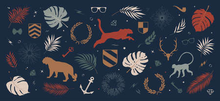 Collection of colored silhouettes of panther, jungle monkey, tropical leaves and plants, sun rays and wreaths, other decorative elements, composition from vector illustrations on a dark background