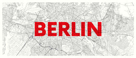 City map Berlin, detailed road plan widescreen vector poster