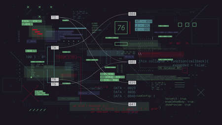 Programming futuristic cyberspace with binary code, computer technology communication and data exchange, vector background Vettoriali