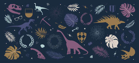 Collection colored silhouettes of dinosaurs, sun rays and wreaths, shields, tropical leaves and plants, composition from vector illustrations on dark background