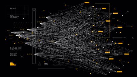 Big complex data neural network, information data visualization concept, business analytics, technology background