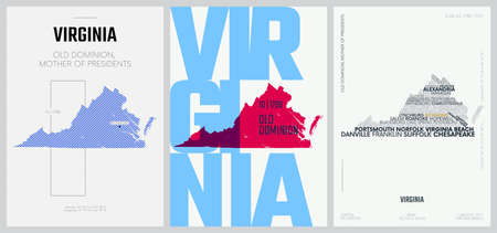 10 of 50 sets, US State Posters with name and Information in 3 Design Styles, Detailed vector art print Virginia map 일러스트