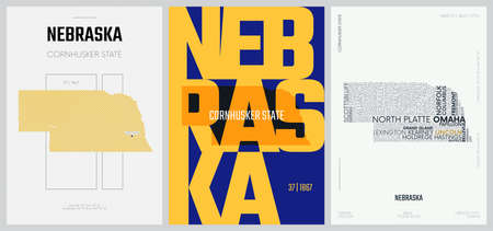 37 of 50 sets, US State Posters with name and Information in 3 Design Styles, Detailed vector art print Nebraska map