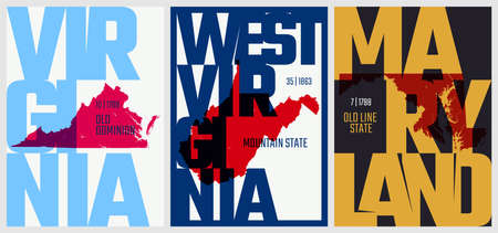 Vector posters states of the United States with a name, nickname, date admitted to the Union, Division South Atlantic - Virginia, West Virginia, Maryland - set 8 of 17