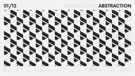 Abstract modern geometric banner with simple shapes in black and white colors, graphic composition design vector background, 3d square modules aesthetics of brutalism