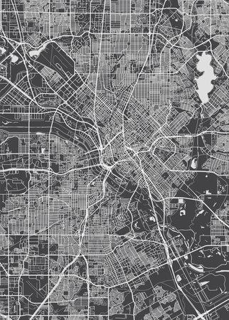 City map Dallas, monochrome detailed plan, vector illustration