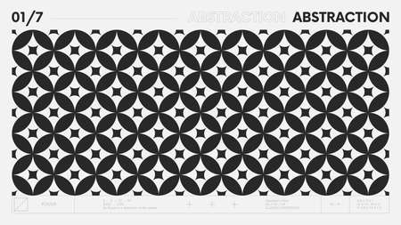 Abstract modern geometric banner with simple shapes in black and white colors, graphic composition design vector background, monochrome circles pattern with overlay effect