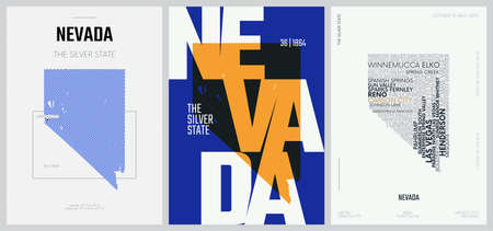 36 of 50 sets, US State Posters with name and Information in 3 Design Styles, Detailed vector art print Nevada map