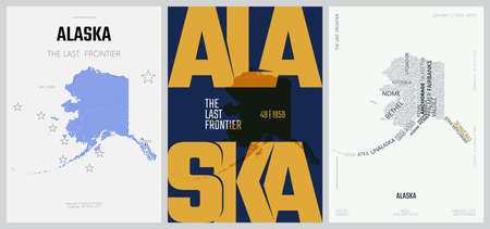 49 of 50 sets, US State Posters with name and Information in 3 Design Styles, Detailed vector art print Alaska map
