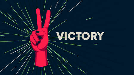 Gesture of human hand against the background of the sunburst, movement of the fingers, motivating vector poster with the slogan Victory 일러스트