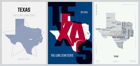 28 of 50 sets, US State Posters with name and Information in 3 Design Styles, Detailed vector art print Texas map 일러스트