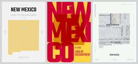 47 of 50 sets, US State Posters with name and Information in 3 Design Styles, Detailed vector art print New Mexico map 일러스트