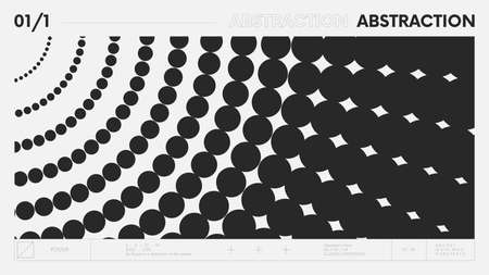 Abstract modern geometric banner with simple shapes in black and white colors, graphic composition design vector background, flying circles in perspective