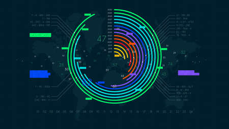 Economic reporting financial data round chart, futuristic visualization of business statistical graph, color tech vector background