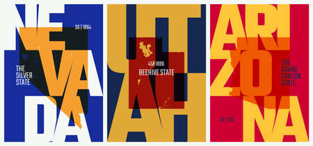 Vector posters states of the United States with a name, nickname, date admitted to the Union, Division Mountain - Nevada, Utah, Arizona - set 14 of 17 向量圖像