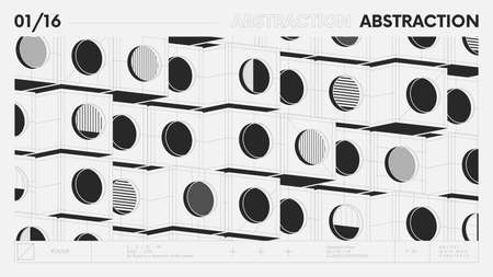 Abstract modern geometric banner with simple shapes in black and white colors, graphic composition design vector background, modular pattern of cubes and circles, 3d details architectural illustration