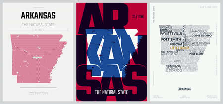 25 of 50 sets, US State Posters with name and Information in 3 Design Styles, Detailed vector art print Arkansas map