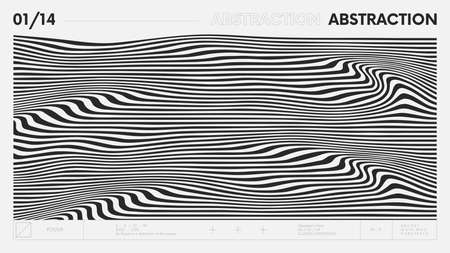 Abstract modern geometric banner with simple shapes in black and white colors, graphic composition design vector background, curvature of stripes, wave lines optical illusion