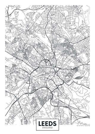 City map Leeds, travel vector poster design 向量圖像