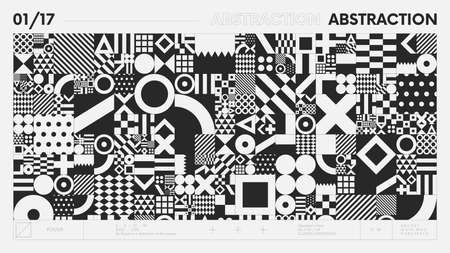 Abstract modern geometric banner with simple shapes in black and white colors, graphic composition design vector background, geometrical artwork with different figure and shape, postmodern contemporary art 向量圖像