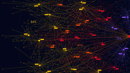 Big data information nodes, information analysis and sorting of neural connections, scientific visualization of digital networks