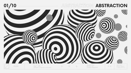 Abstract modern geometric banner with simple shapes in black and white colors, graphic composition design vector background, flying balls of different shapes with linear pattern