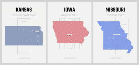 Vector posters detailed silhouettes maps of the states of America with abstract linear pattern, Division West North Central - Kansas, Iowa, Missouri - set 6 of 17