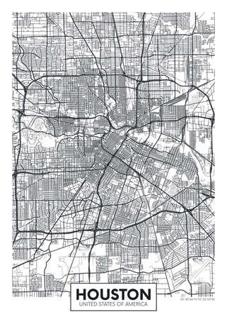 City map Houston, travel vector poster design 일러스트