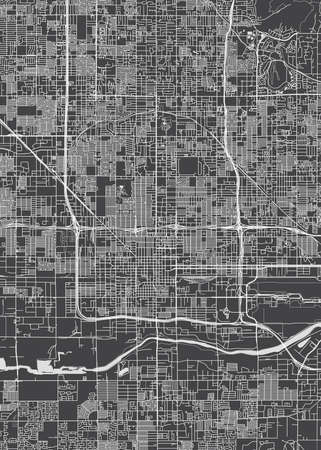 City map Phoenix, monochrome detailed plan, vector illustration Vetores