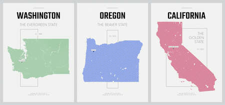 Vector posters detailed silhouettes maps of the states of America with abstract linear pattern, Division Pacific - Washington, Oregon, California - set 16 of 17
