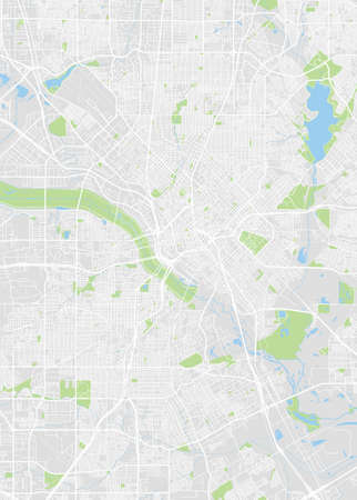 City map Dallas, color detailed plan, vector illustration