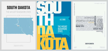 40 of 50 sets, US State Posters with name and Information in 3 Design Styles, Detailed vector art print South Dakota map