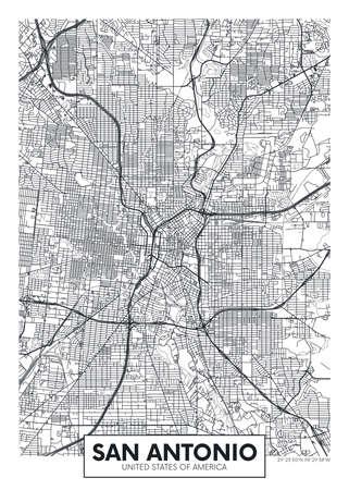City map San Antonio, travel vector poster design