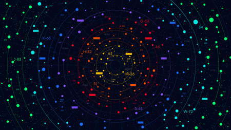 Big data digital cloud with numbers and circular structure, color visualization of information flow analysis process, vector business illustration 일러스트