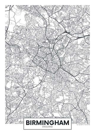 City map Birmingham, travel vector poster design 일러스트