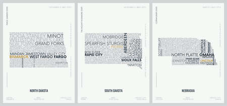 Typography composition of city names, silhouettes maps of the states of America, vector detailed posters, Division West North Central - North Dakota, South Dakota, Nebraska - set 7 of 17 일러스트