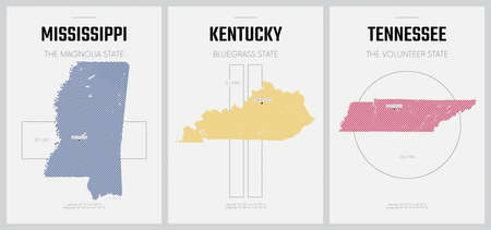 Vector posters detailed silhouettes maps of the states of America with abstract linear pattern, Division East South Central - Mississippi, Kentucky, Tennessee - set 11 of 17