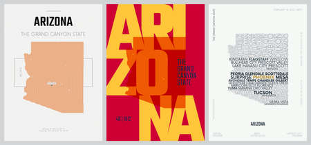 48 of 50 sets, US State Posters with name and Information in 3 Design Styles, Detailed vector art print Arizona map