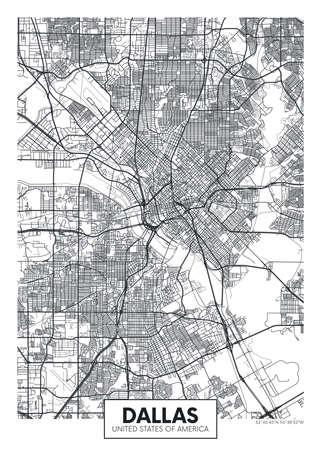 City map Dallas, travel vector poster design 일러스트