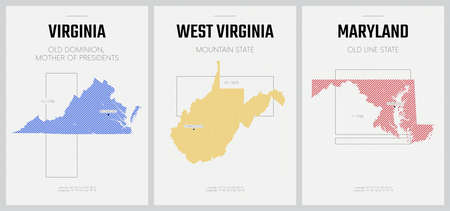 Vector posters detailed silhouettes maps of the states of America with abstract linear pattern, Division South Atlantic - Virginia, West Virginia, Maryland - set 8 of 17