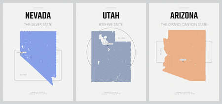 Vector posters detailed silhouettes maps of the states of America with abstract linear pattern, Division Mountain - Nevada, Utah, Arizona - set 14 of 17