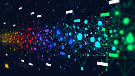 Colored abstract information networks, financial analytics big data, futuristic visualization, monitor screen in perspective 스톡 콘텐츠