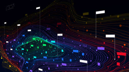 Futuristic big data digital cloud visualization, information sorting and storage technology, color structure of neural networks, monitor screen in perspective