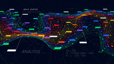 Information sorting and storage business technology, futuristic visualization of big data digital stream, color structure of neural network, monitor screen in perspective