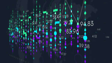 Dashboard with financial analytics, futuristic visualization of business statistical graph, monitor screen in perspective, color tech background 스톡 콘텐츠